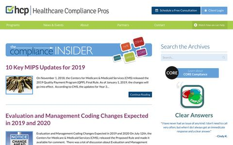 Screenshot of Blog healthcarecompliancepros.com - 10 Key MIPS Updates for 2019 | Healthcare Compliance Pros - captured Dec. 6, 2018
