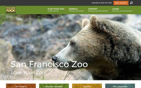 Screenshot of Home Page sfzoo.org - San Francisco Zoo - captured May 22, 2017