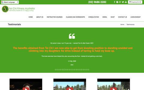 Screenshot of Testimonials Page tcfa.com.au - Tai Chi Fitness Australia Testimonials - captured Oct. 19, 2017