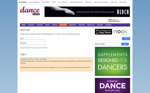 Screenshot of Login Page dancemedia.com - DanceMedia – All dance, all the time. - captured Sept. 23, 2014