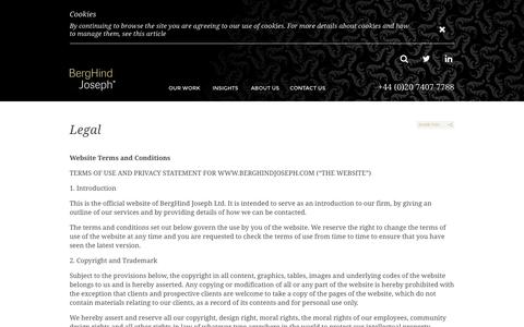 Screenshot of Terms Page berghindjoseph.com - Legal | BergHind Joseph - captured Nov. 3, 2014