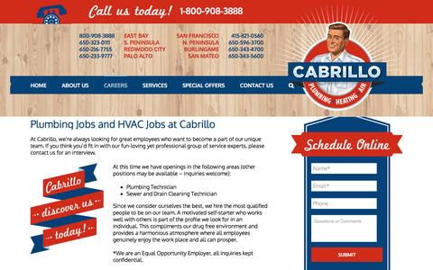 Screenshot of Jobs Page discovercabrillo.com - Careers | Cabrillo - captured Oct. 16, 2016