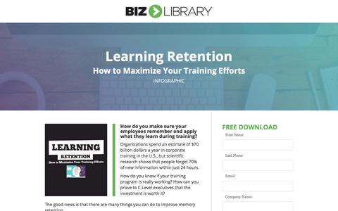 Screenshot of Landing Page bizlibrary.com - Learning Retention: Maximize Your Training ROI [Infographic] - captured June 30, 2017