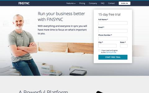 Screenshot of Home Page finsync.com - FINSYNC: Cloud Accounting, Financial Management, Business Intelligence Software - captured Jan. 8, 2016