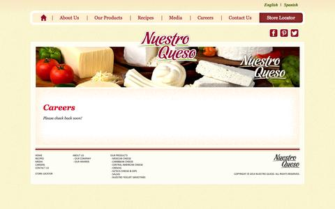 Screenshot of Jobs Page nuestroqueso.com - Careers | Nuestro Queso - captured Oct. 9, 2014