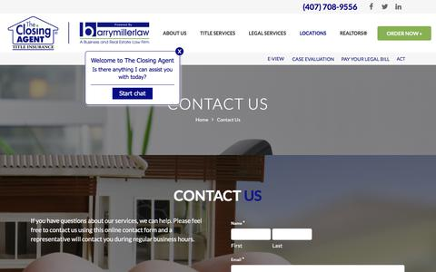 Screenshot of Contact Page theclosingagent.com - CONTACT US   THE CLOSING AGENT   ORLANDO TITLE COMPANY - captured Aug. 21, 2019