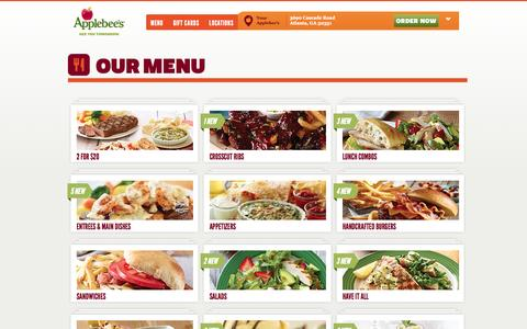 Screenshot of Menu Page applebees.com - Applebee's - See You Tomorrow - captured Sept. 19, 2014