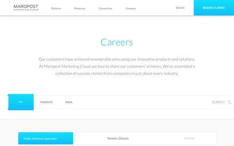 Screenshot of Jobs Page maropost.com - Careers at Maropost | Digital Marketing | Maropost Marketing Cloud - captured Feb. 1, 2017
