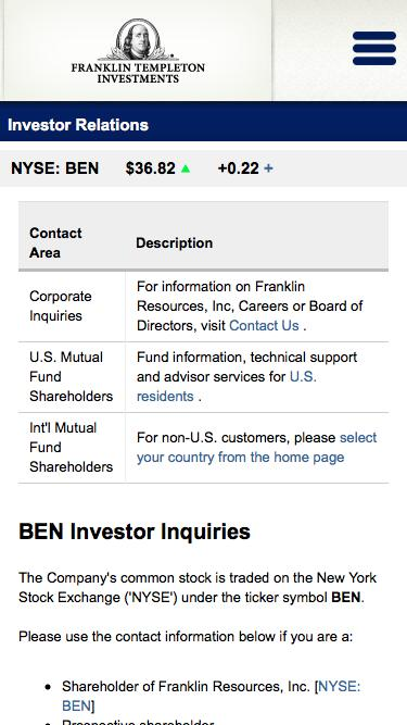 Franklin Resources Inc - Investor Relations - BEN Investor Inquiries - Contact Information