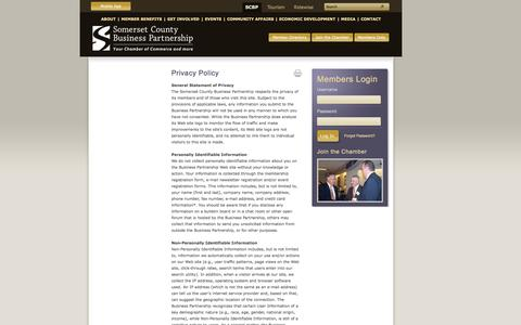 Screenshot of Privacy Page scbp.org - Privacy Policy - Somerset County Business Partnership, Chamber of Commerce, New Jersey - captured Sept. 23, 2014