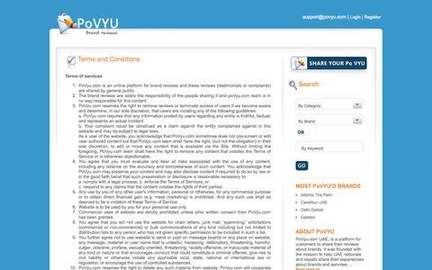 Screenshot of Terms Page povyu.com - PoVYU (Point of View), a platform for Brand Reviews. Share your PoVyu today - captured Sept. 30, 2014