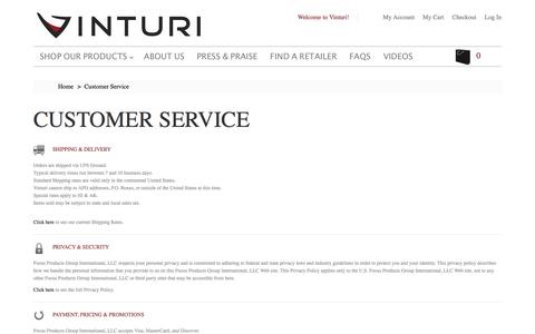 Screenshot of Support Page vinturi.com - Customer Service - captured Feb. 24, 2016