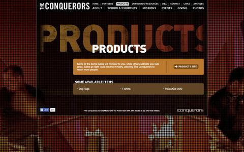 Screenshot of Products Page theconquerors.net - Products - The Conquerors - captured Oct. 7, 2014