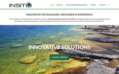 Screenshot of Home Page irsl.ca - Home - IRSL: InSitu Remediation Services Ltd. - captured Oct. 6, 2014