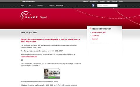 Screenshot of Support Page rangeweb.net - Range - You're Connected - captured Oct. 7, 2014
