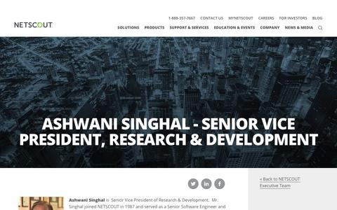 Screenshot of Team Page netscout.com - Ashwani Singhal | NETSCOUT - captured Nov. 17, 2017