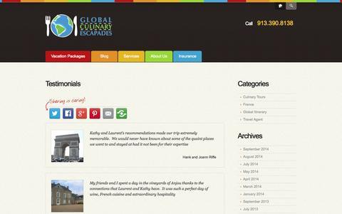 Screenshot of Testimonials Page globalculinaryescapades.com - Testimonials     Global Culinary Escapades - captured Sept. 30, 2014