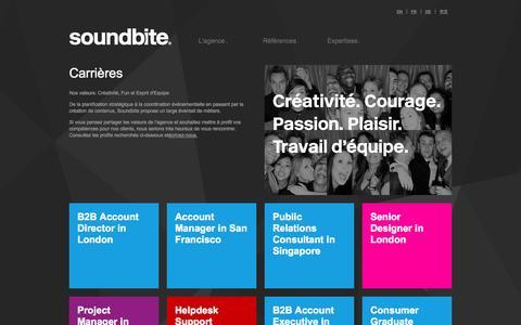 Screenshot of Jobs Page soundbite.fr - Carrières | Soundbite - captured Oct. 7, 2014