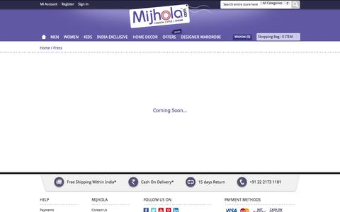 Screenshot of Press Page mijhola.com - Press - captured Oct. 31, 2014