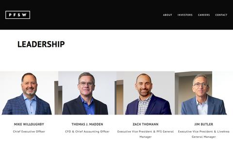 Screenshot of Team Page pfsweb.com - PFS Leadership and Executive Officers | PFS - captured Feb. 20, 2020