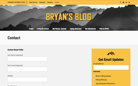 Screenshot of Contact Page bryanfeller.com - Contact » Bryan Feller - captured Oct. 19, 2018