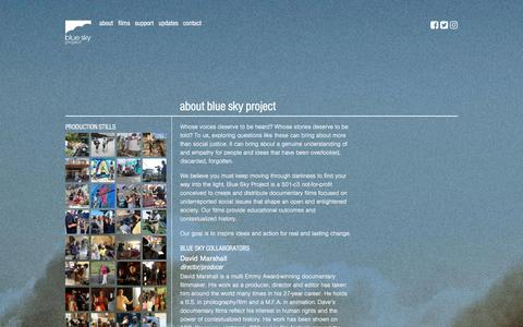 Screenshot of About Page bspfilms.org - About – Blue Sky Project - captured Nov. 22, 2016