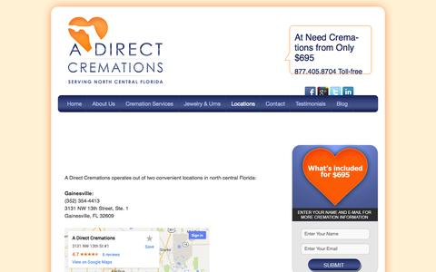 Screenshot of Locations Page adcremations.com - Cremation Locations - captured Oct. 2, 2014