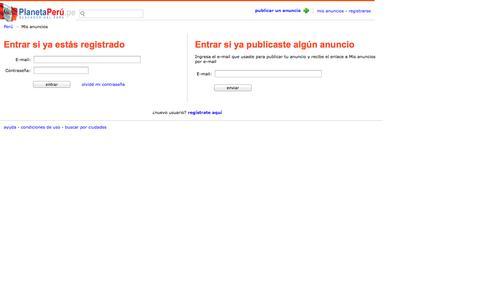 Screenshot of Login Page planetaperu.pe - PlanetaPeru.pe - buscador del Perú - captured Nov. 2, 2014