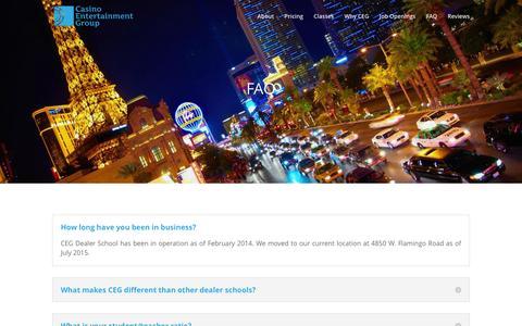 Screenshot of FAQ Page ceglasvegas.com - FAQ – CEG Dealer School - captured Jan. 26, 2016