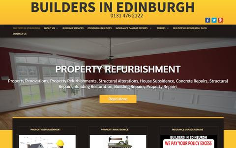 Screenshot of Home Page buildersinedinburgh.com - BUILDERS IN EDINBURGH - CALL 0131-476-2122 | Welcome - captured Jan. 21, 2016