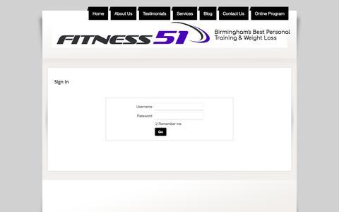 Screenshot of Login Page fitness51.com - Login - captured Aug. 14, 2018