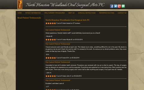 Screenshot of Testimonials Page northhoustonoralsurgery.com - Read Patient Testimonials Houston TX, North Houston-Woodlands Oral Surgical Arts PC - captured Oct. 26, 2014