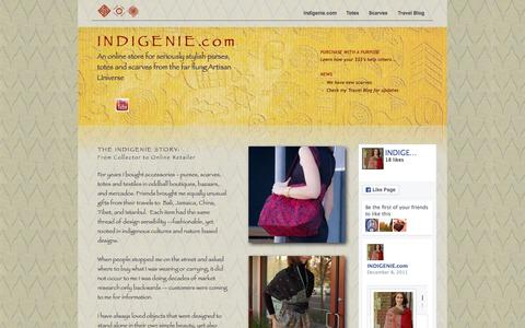 Screenshot of indigenie.com - Indigenie  Warm Wool Silk Colorful Scarves and Asian Designed Totes - captured Dec. 20, 2015