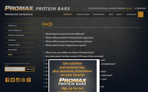 Screenshot of FAQ Page promaxnutrition.com - PROMAX NUTRITION FAQ'S - captured Dec. 13, 2015