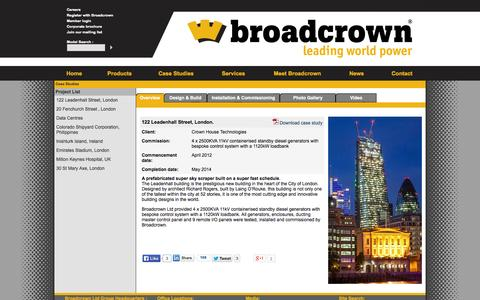 Screenshot of Case Studies Page broadcrown.com - Leadenhall Street | design and installation of 4 x 2500KVA 11kV containerised standby diesel generators - captured Oct. 5, 2014