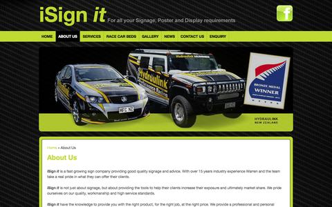 Screenshot of About Page isignit.co.nz - About Us : i Sign it - For all your Signage, Poster and Display Requirements - captured Sept. 30, 2014