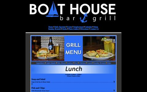 Screenshot of Menu Page boathousepadreisland.com - Good Food at the  Boathouse in Corpus Cristi Texas - captured Oct. 5, 2014