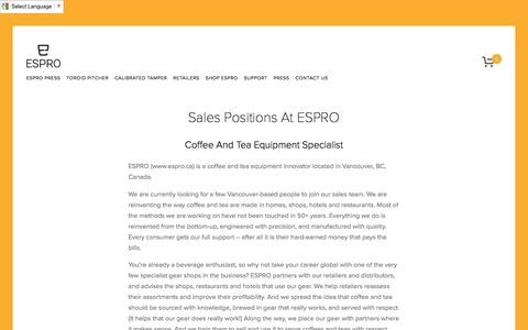 Screenshot of Jobs Page espro.ca - Jobs — ESPRO - Make it Better - Coffee and Tea Gear - captured Nov. 10, 2016
