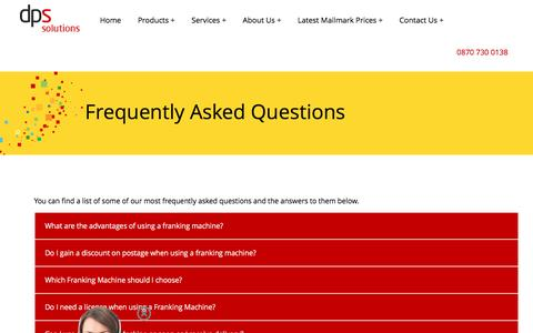 Screenshot of FAQ Page dpsfrankingmachines.co.uk - Frequently Asked Questions - captured Dec. 26, 2016