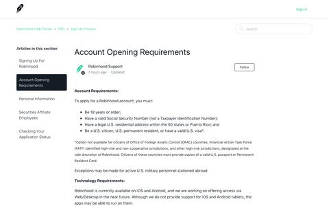 Account Opening Requirements – Robinhood Help Center