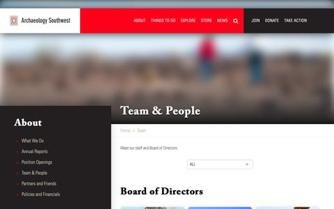 Screenshot of Team Page archaeologysouthwest.org - Team | Archaeology Southwest - captured Sept. 27, 2018