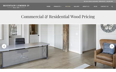 Screenshot of Pricing Page mountainlumber.com - Commercial & Residential Wood Pricing | Mountain Lumber Company - captured July 20, 2018