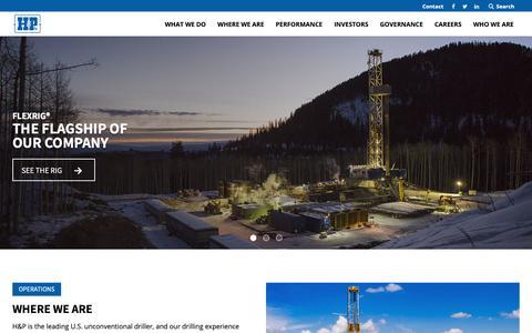 Screenshot of Home Page hpinc.com - Helmerich & Payne, Inc. | Drilling Rig Company - captured Nov. 5, 2018