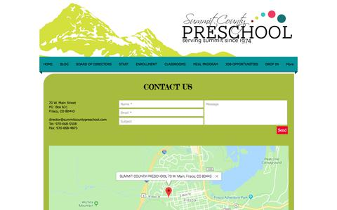 Screenshot of Contact Page summitcountypreschool.com - Summit County Preschool   Contact - captured Sept. 21, 2018