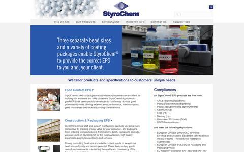 Screenshot of Products Page styrochem.com - Styrochem: Products - captured Oct. 20, 2018