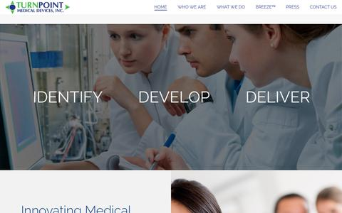 Screenshot of Home Page turnpoint.com - TurnPoint Medical Devices Inc. – Innovating Medical Device Solutions - captured March 16, 2016