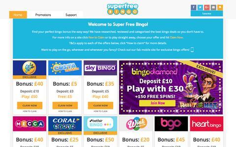 Screenshot of Home Page superfreebingo.com - Free Bingo | Online Bingo | Super Free Bingo - captured Aug. 16, 2016