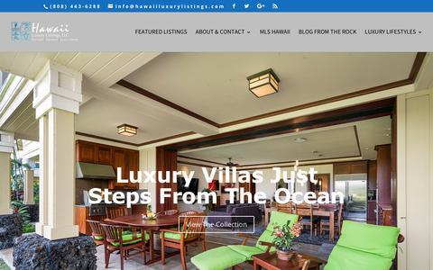Screenshot of Home Page hawaiiluxurylistings.com - Hawaii Luxury Real Estate : Luxury Properties and Exclusive Listings in Hawaii - captured Sept. 27, 2018