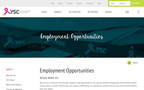 Screenshot of Jobs Page youngsurvival.org - Employment Opportunities | Young Survival Coalition, Young women facing breast cancer together. - captured Sept. 3, 2017