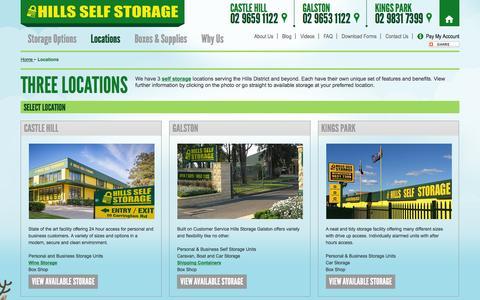 Screenshot of Locations Page hillsselfstorage.com.au - Sydney Self Storage Locations - Castle Hill, Galston & Kings Park - captured Dec. 10, 2015